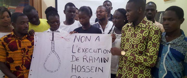 Les membres d'Amnesty Burkina mobilisés contre l'exécution de Ramin Hossein Panahi